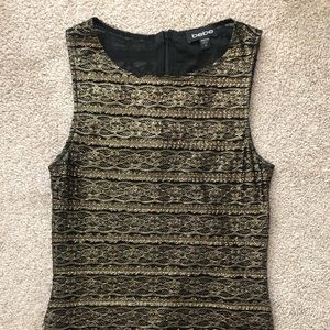 Gold Lace-like Bebe Top